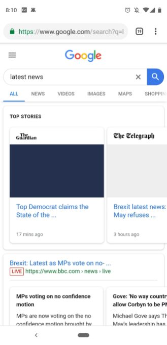 Google Search no news headlines Europe