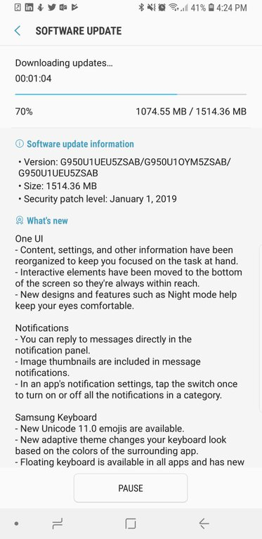 s8 android pie software update us users