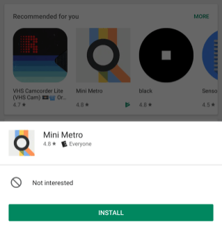 Google Play Store Tap and Hold