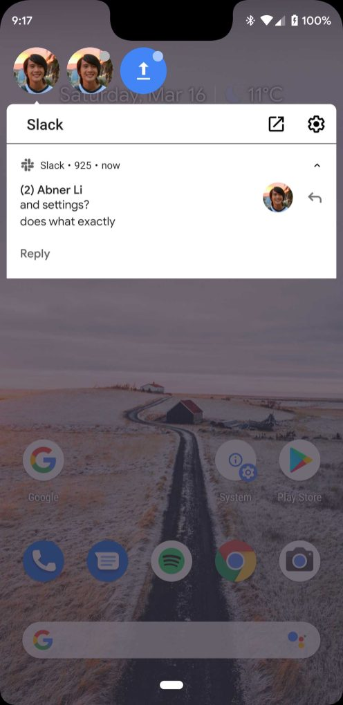 Android Q chat head bubble notifications