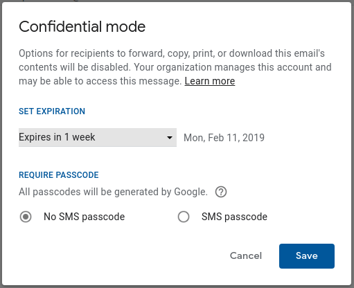 Gmail Confidential Mode launch