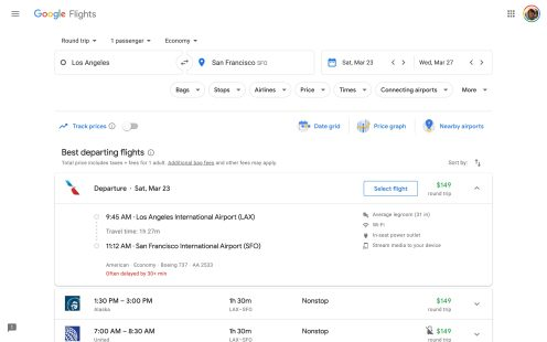 Google Flights Material Theme
