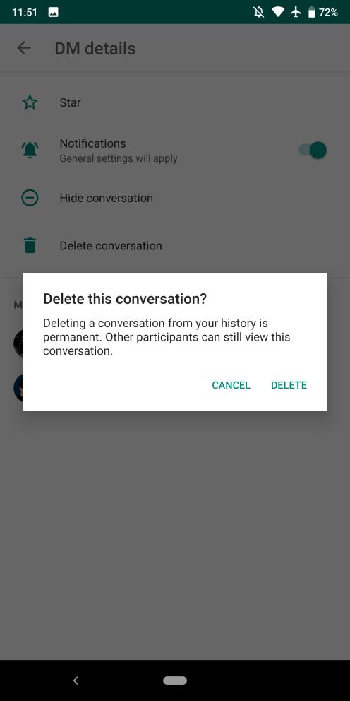 Hangouts Chat delete conversation history