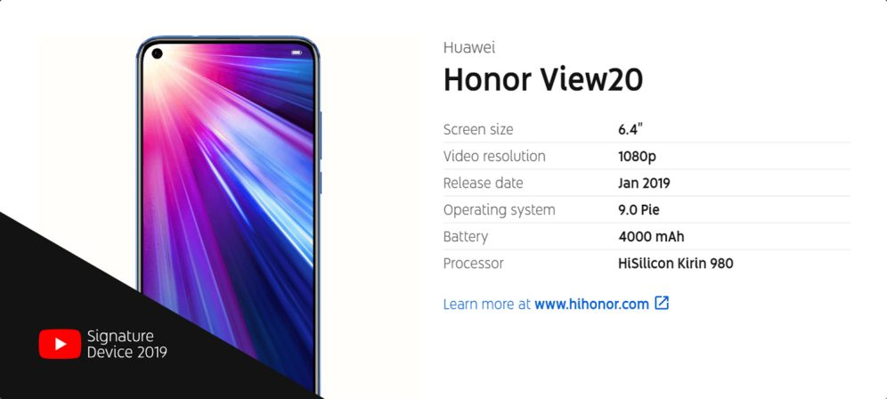 Honor View 20 YouTube Signature device info