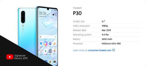 Huawei P30 YouTube Signature device info