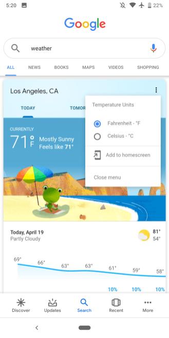 Google Weather app broken
