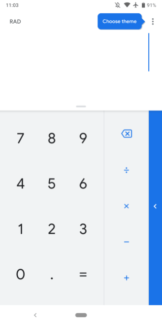 Google Calculator dark theme