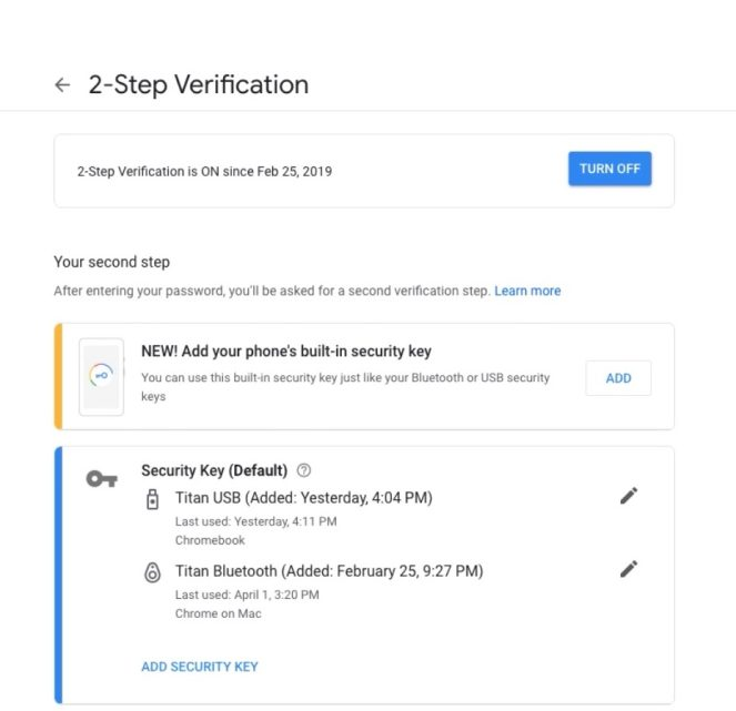 Google Phone Security Keys