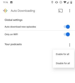 Google Podcasts auto downloading