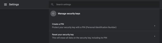Chrome 75 security keys