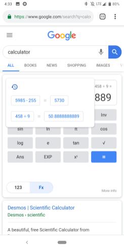 Google calculator Material Theme