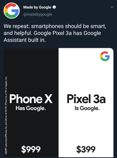 Phone X Google Pixel ad