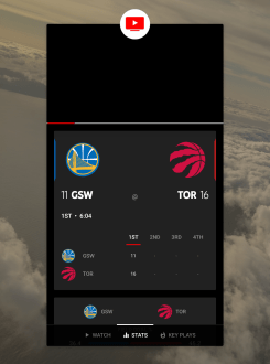 YouTube TV sports dashboard