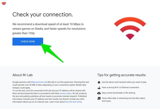 Google Stadia Speedtest Tool