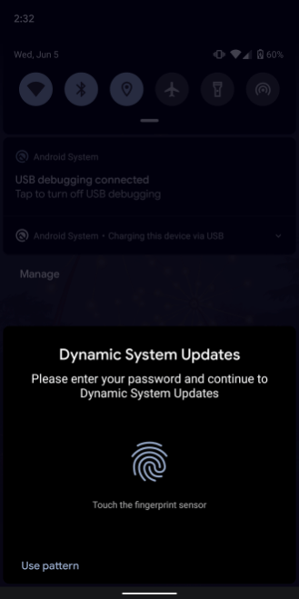 Dynamic System Updates prompt