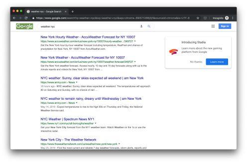 Google Search Stadia ad