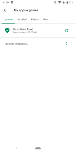 Play Store updates error