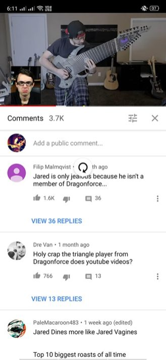 youtube comments button test android