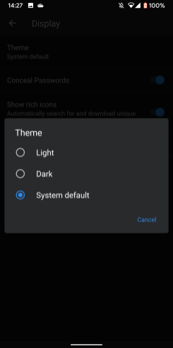 1password android dark mode