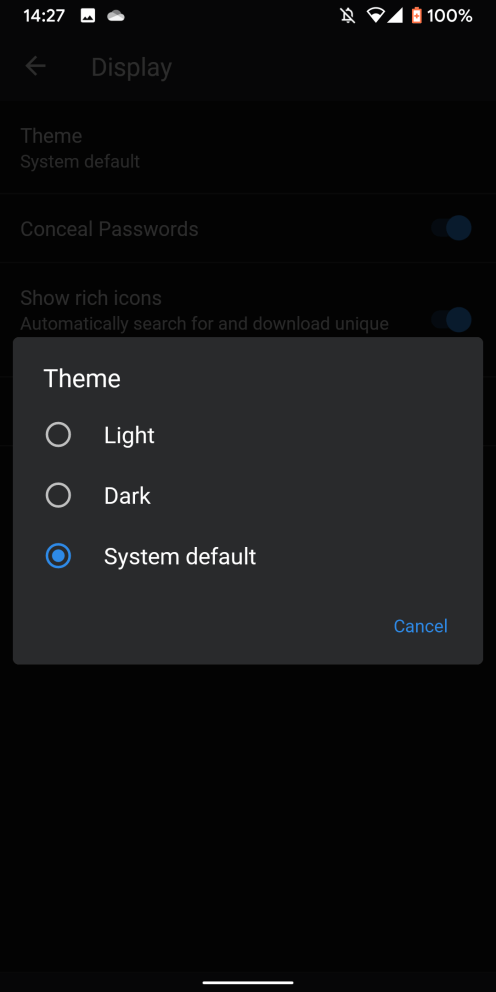 1password android dark mode