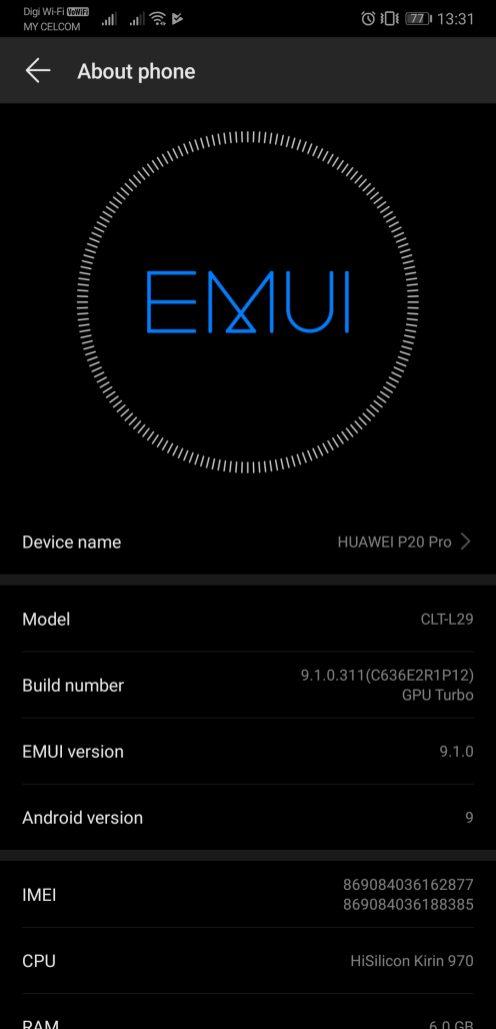 EMUI 9.1 P20 Pro OTA