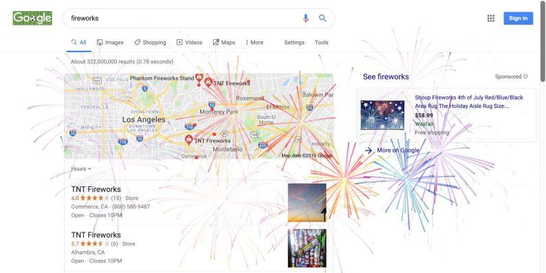 Google fireworks Easter Egg