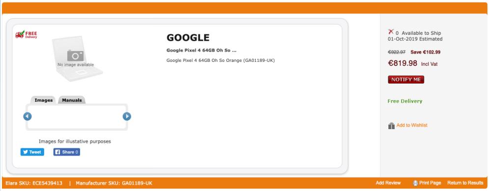 Buy Google Pixel 4 64GB Oh So Oran .. | GA01189-UK 2019-09-20 16-38-13