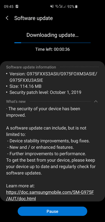 October 2019 security patch S10