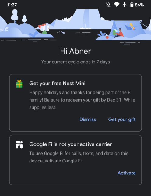 Google Fi free nest Mini