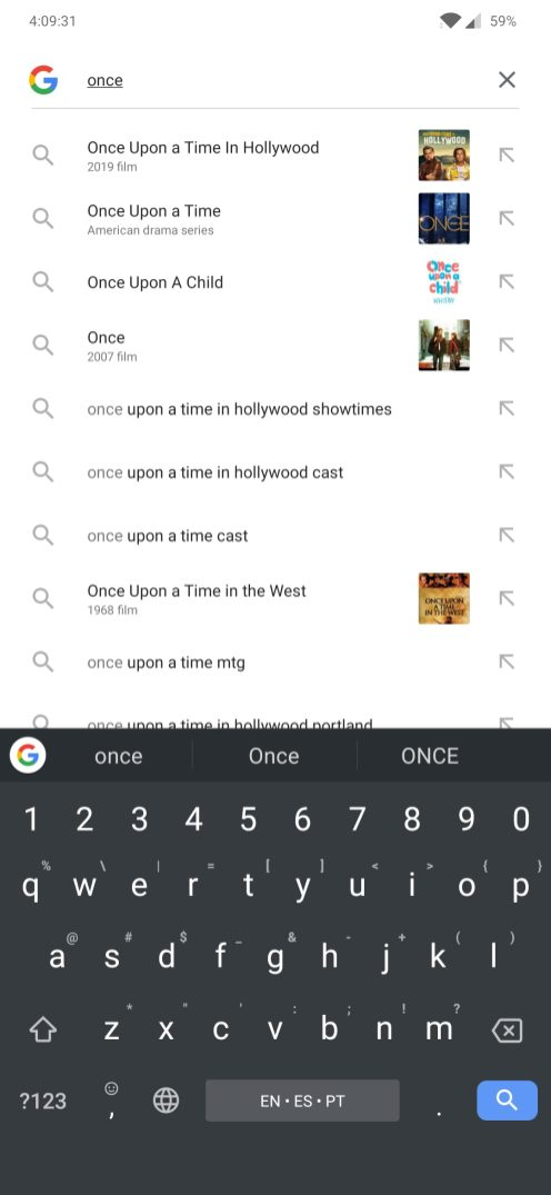 The Google search bar displaying search suggestions.