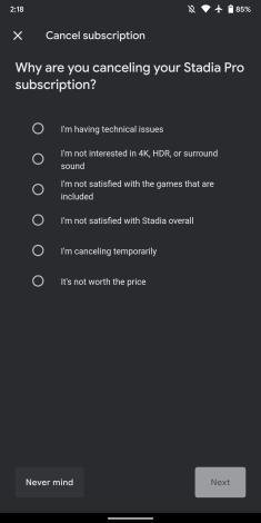 Stadia cancellation survey