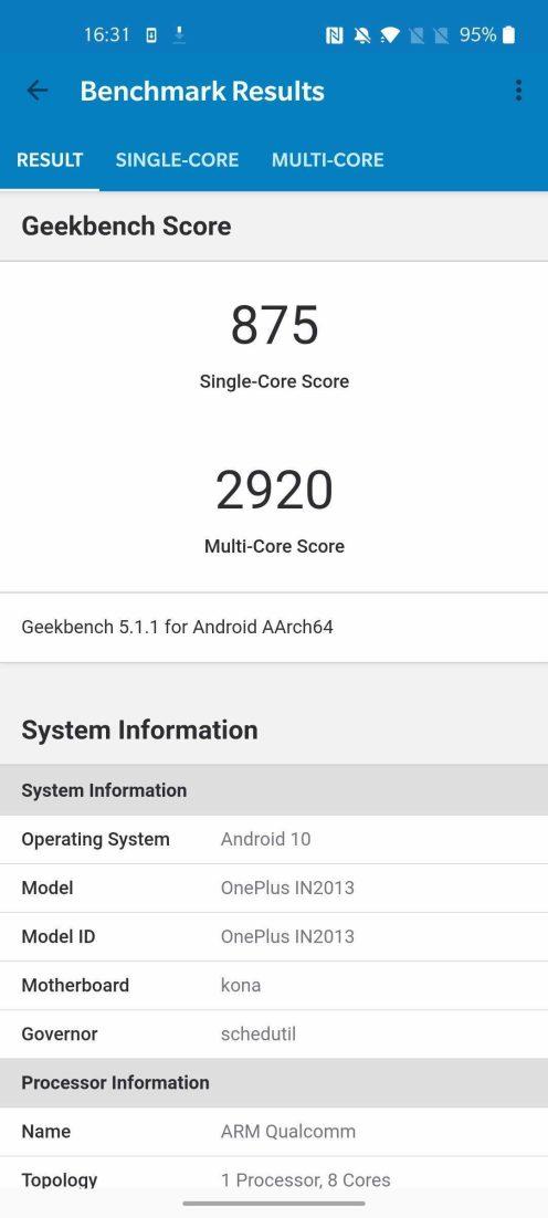 OnePlus 8 - Geekbench