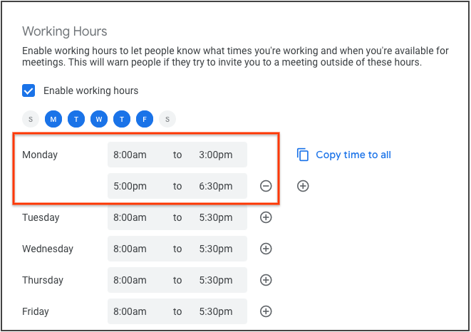 Google Calendar split working hours