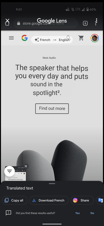 Google Lens translate screenshot