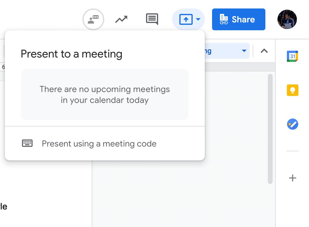 Google Docs Meet present