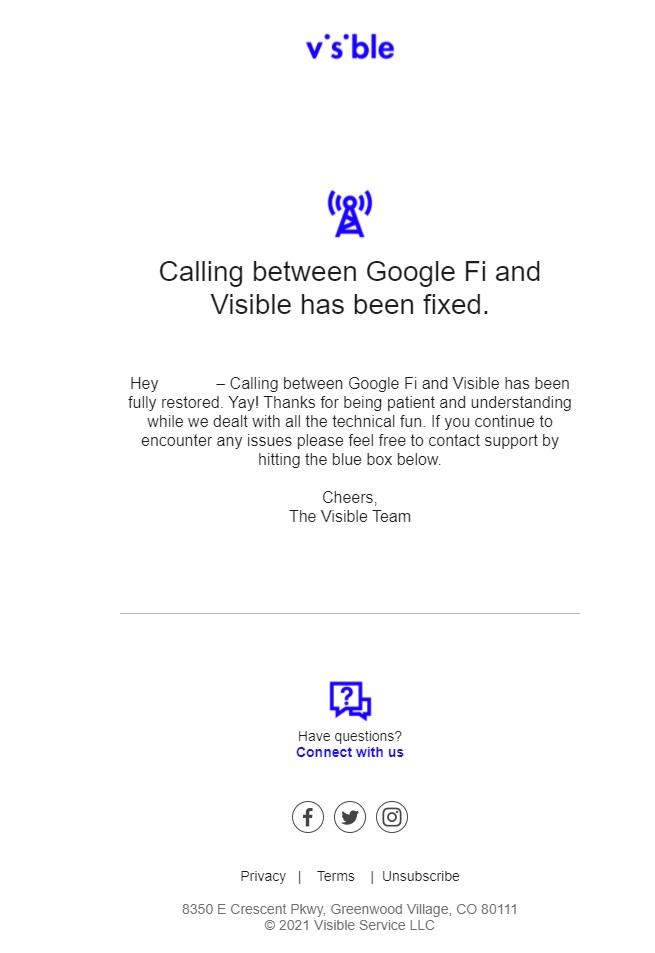 Google Fi Visible call