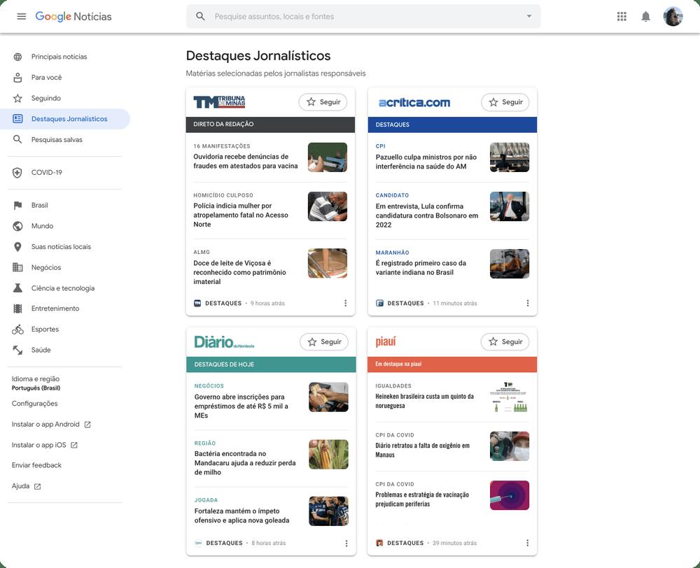 Google News Showcase web