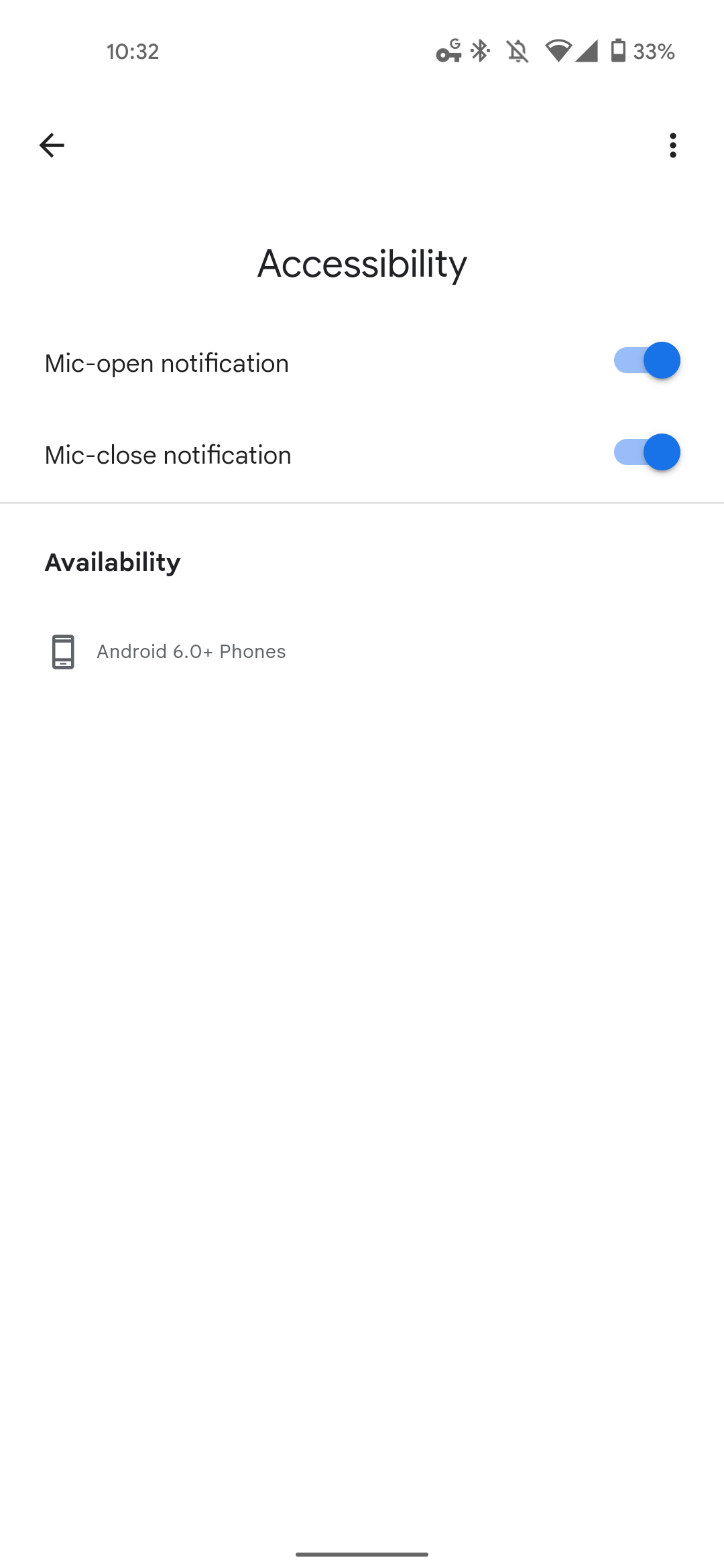 Google Assistant settings Accessibility