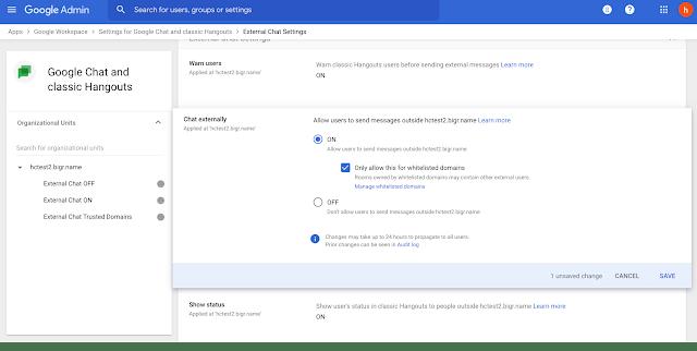 Google Chat external limit