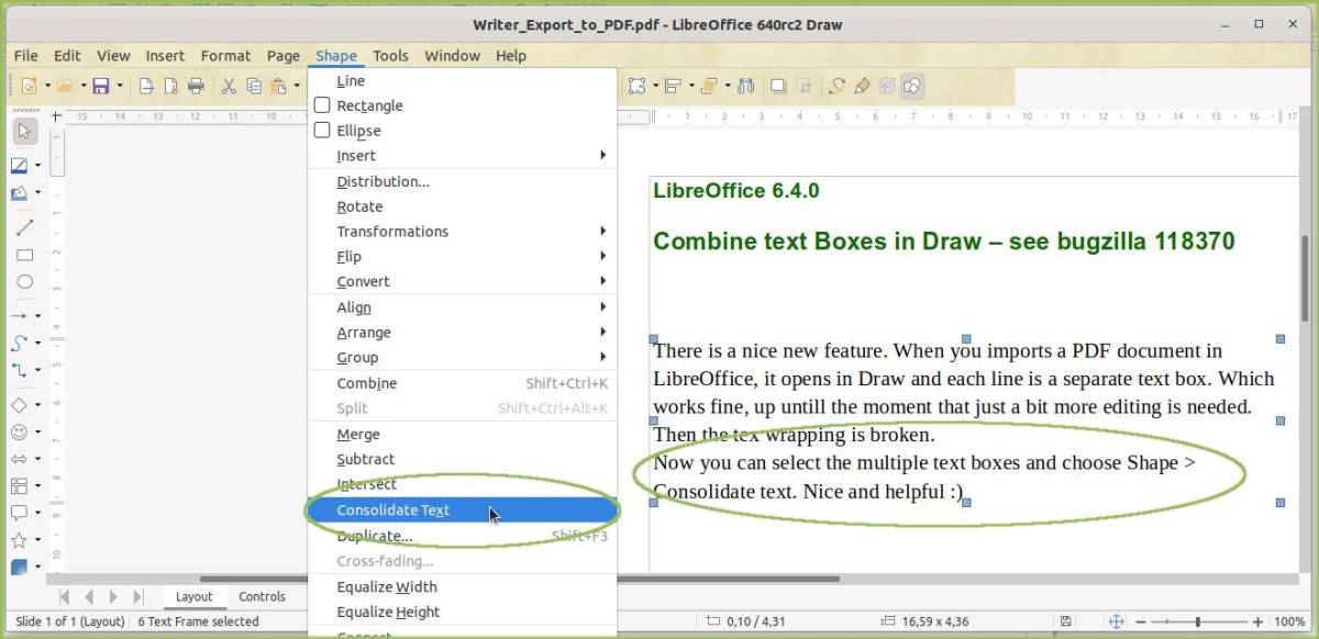 Consolidate Text feature
