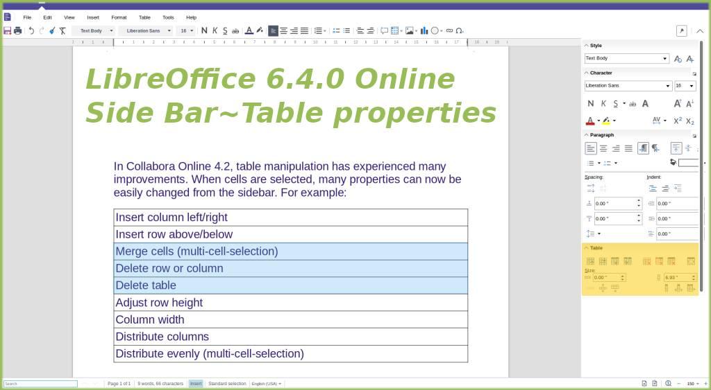 Table properties in Writer