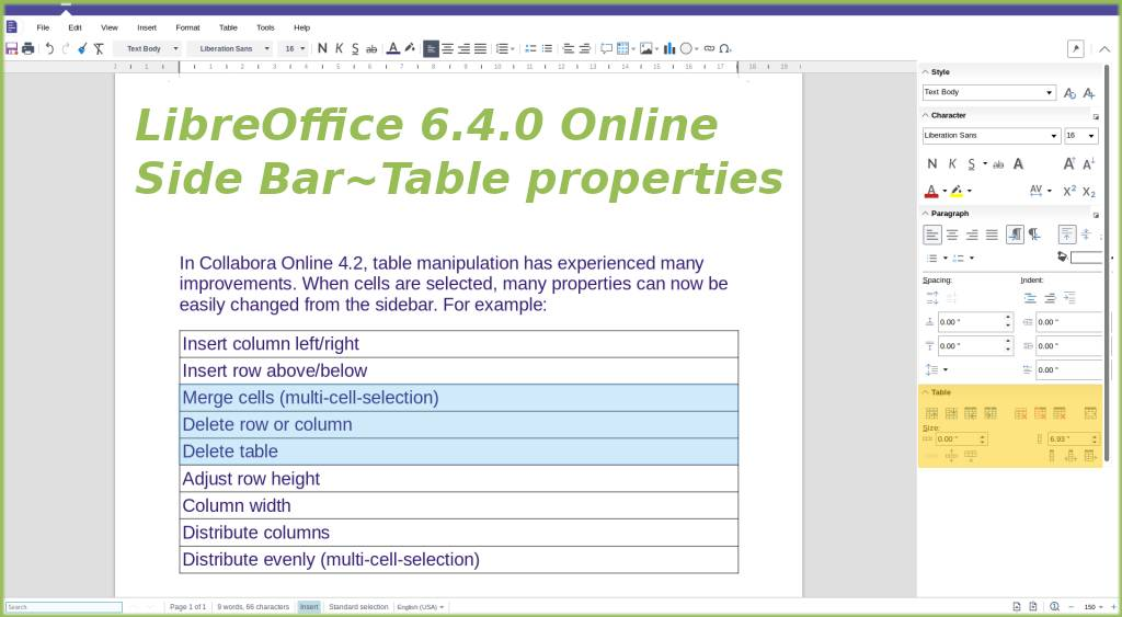 Table properties in Writer