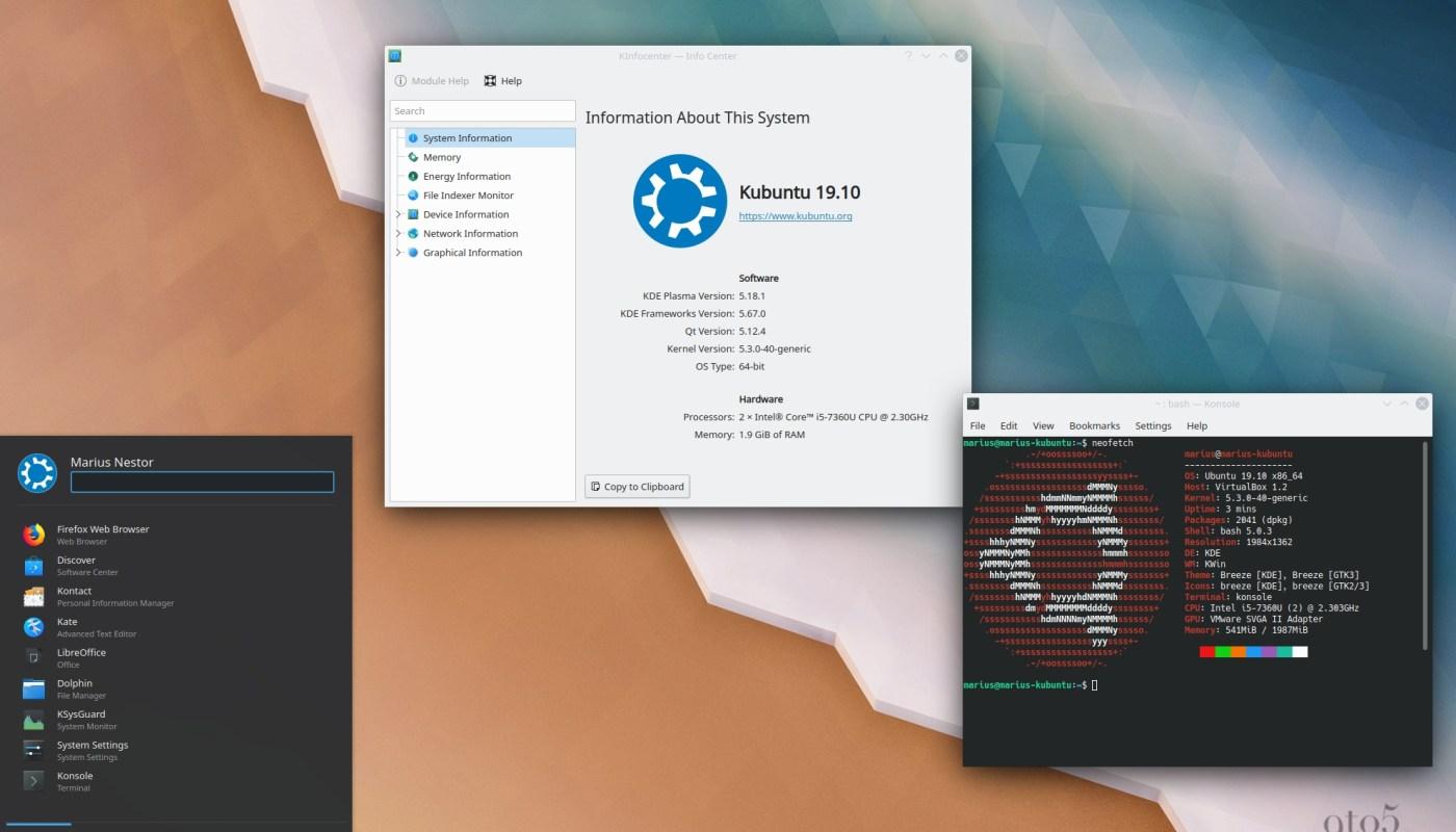 Kubuntu 19.10 running KDE Plasma 5.18.1 LTS