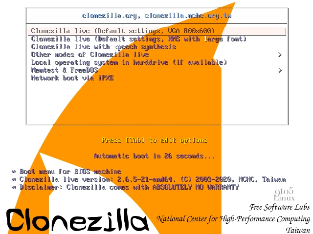 Clonezilla Live 2.6.5