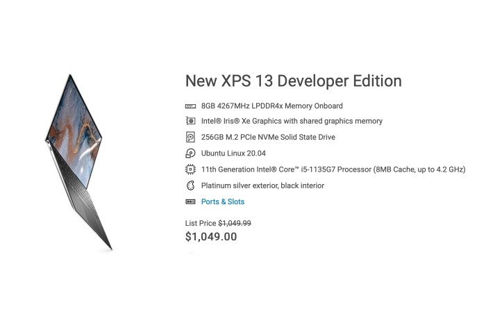 Dell XPS 13 Developer Edition Now Features Tiger Lake CPUs with Ubuntu 20.04 LTS