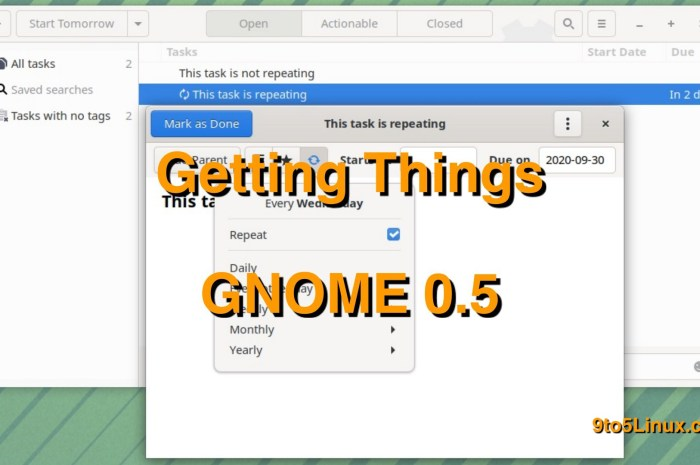 Getting Things GNOME 0.5 To-Do App Released with Recurring Tasks, Performance Improvements