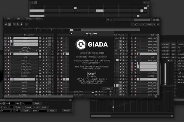 Giada 0.18.2 Hardcore Loop Machine Brings New Stereo In/Out Audio Meters, Revamped Action Editor