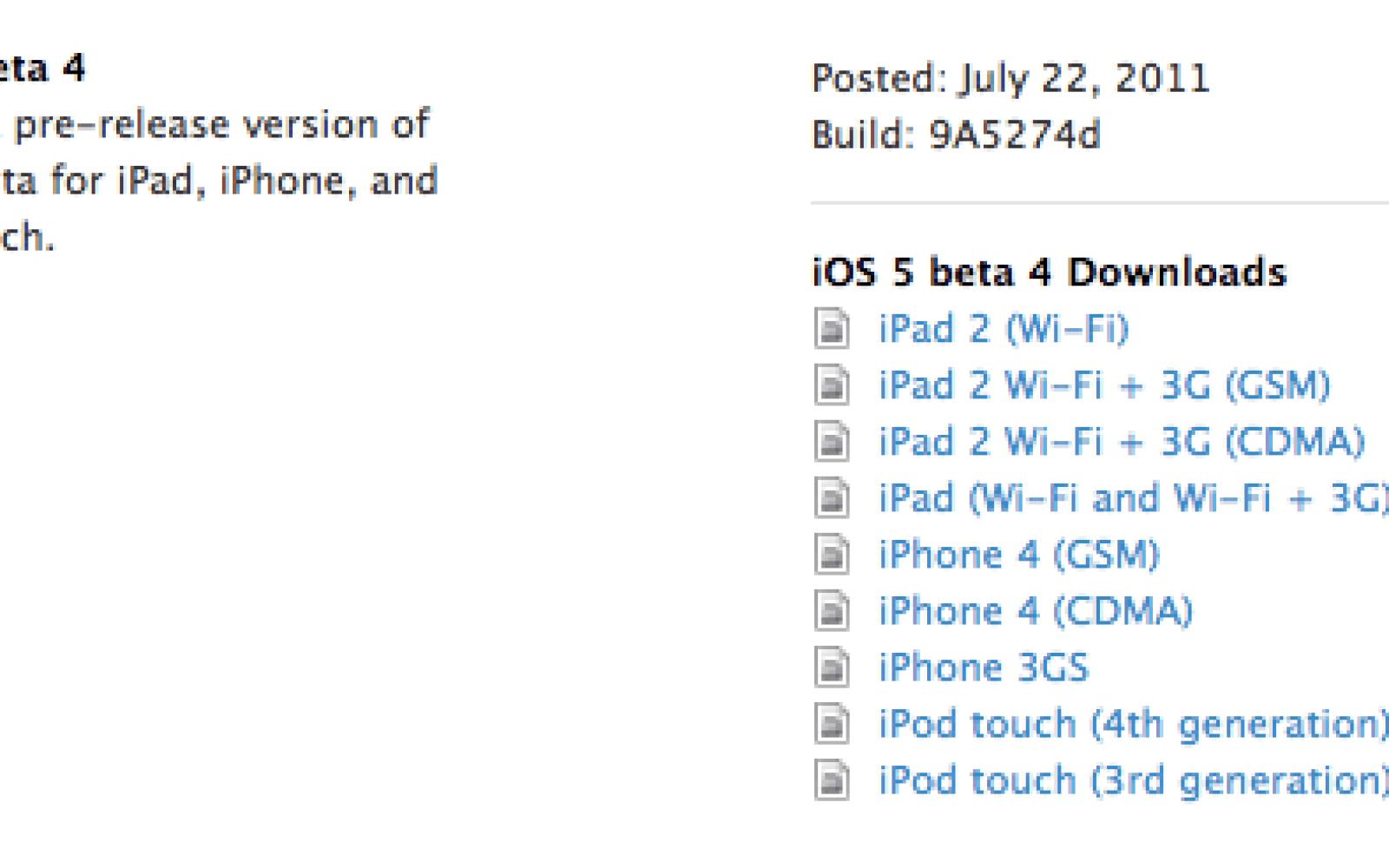 Apple seeds iOS 5 beta 4, iTunes 10 5 beta 4, Xcode 4 2