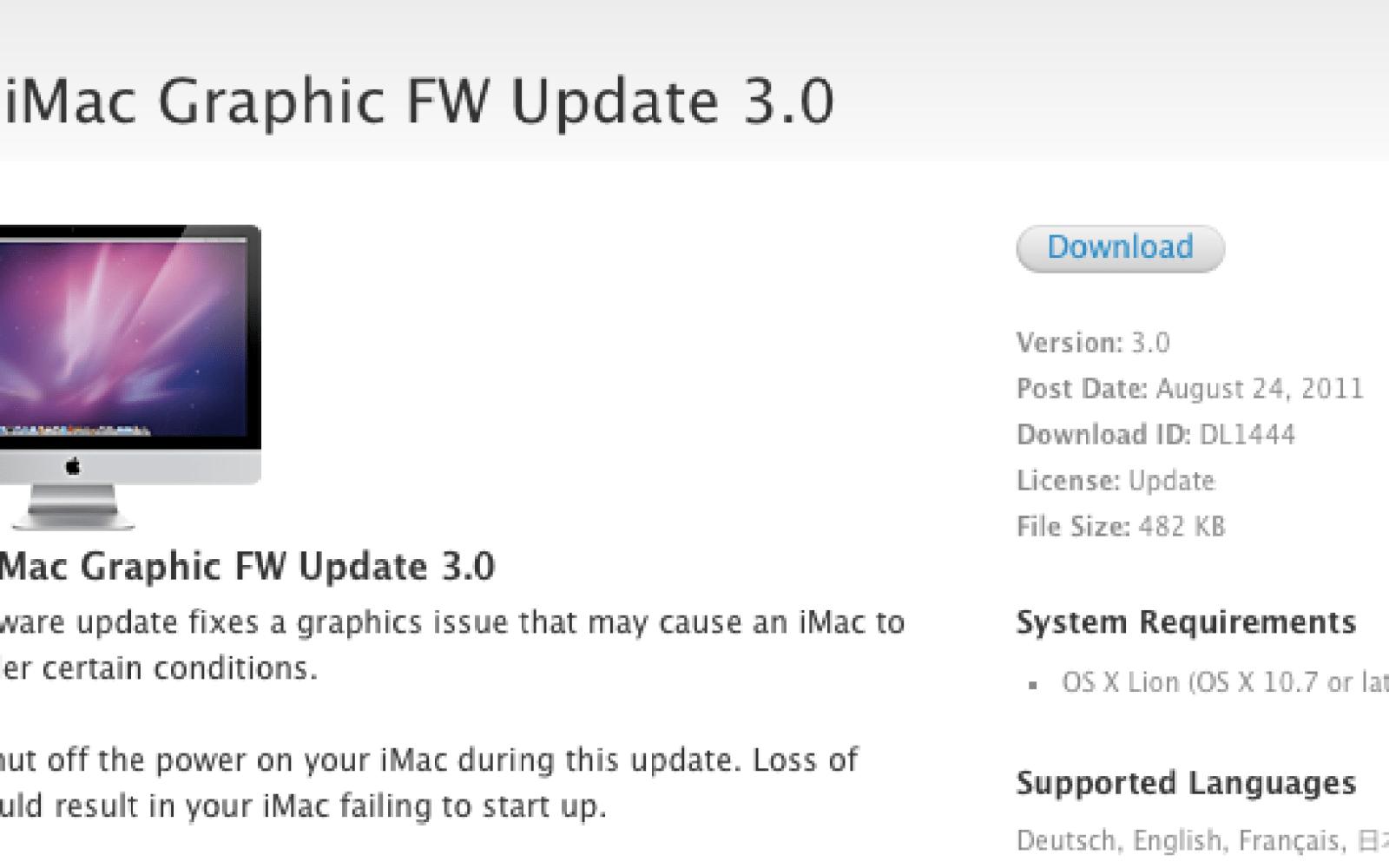 Apple fixes Lion video lock-ups on iMacs, improves hardware support