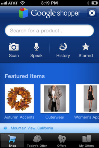 Gogole Shopper for iOS (iPhone screenshot 001)